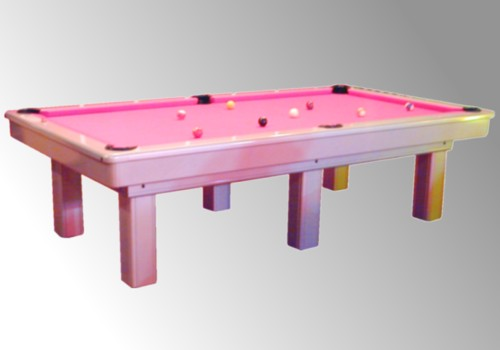 Photo et descriptif: Billard laque gris metalise americain 2m80 Le Competition tapis fushia