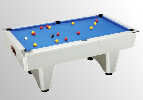 Photo et descriptif: billard domestic pool country  sans monnayeur aluminium tapis bleu