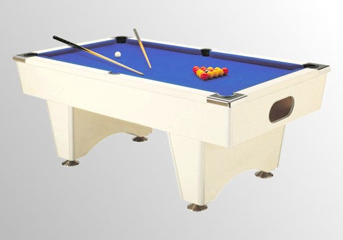 Photo et descriptif: billard domestic pool country sans monnayeur blanc tapis bleu