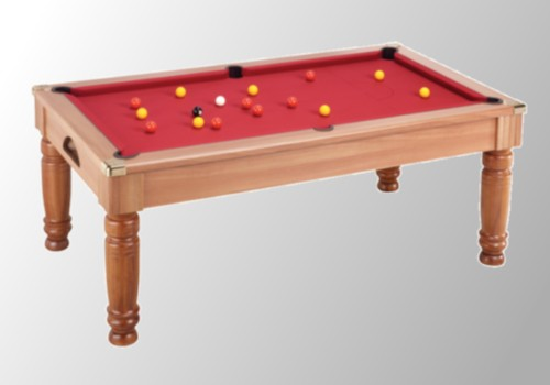 Photo et descriptif: Billard pool anglais Majestic chataignier tapis rouge