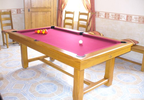 Photo et descriptif: billard Rustic 3 en 1 francais americain table de ferme chene livre en Flandres