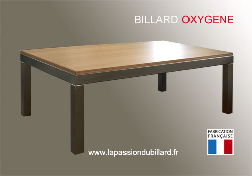 Photo et descriptif: Billard design Oxygene pieds inox plateau table chene naturel
