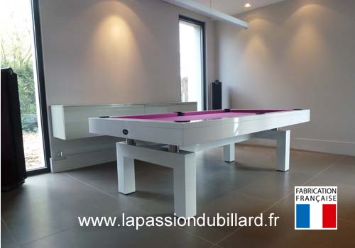 Photo et descriptif: Table de billard contemporain Arcade 2m30 laque blanc region lilloise.