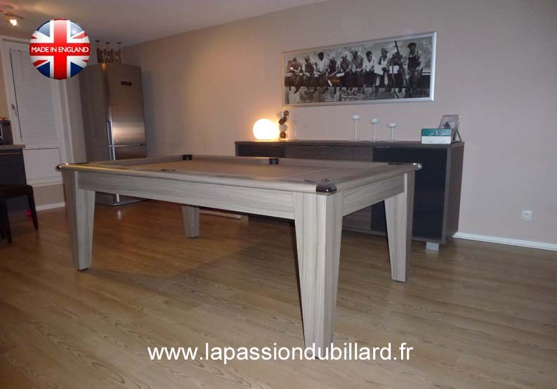 Billard york 7 ft bois flotté tapis couleur taupe.
